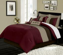 8-Piece Luxury Pintuck Pleated Stripe Burgundy/Brown/Coffee
