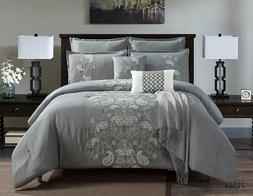 8 Piece Luxury Quilted Embroidered Comforter Set Bed In A Ba
