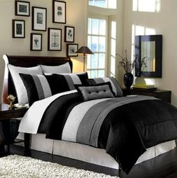 8-Piece Luxury Stripe Comforter Set Bed-In-A-Bag Black
