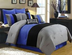 8-Piece Luxury Stripe Comforter Set Bed-In-A-Bag Gray