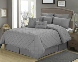 8 Piece MANCHESTER Gray Tucking Pattern Comforter Set-Queen
