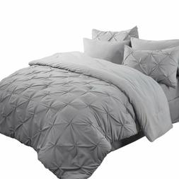 Bedsure 8 Piece Pinch Pleat Down Alternative Comforter Set Q