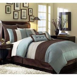 8-Piece  Pintuck Pleated Stripe Off-White, Blue, and Brown C