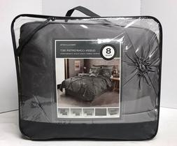 Priscilla Satin 8 Piece Queen Bed Comforter Set Gray Grey