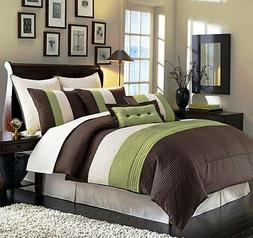 8 Pieces Luxury Stripe Green Brown Beige Comforter Bed-in-a-