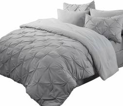 Bedsure 8 Pieces Pinch Pleat Down Alternative Comforter Set