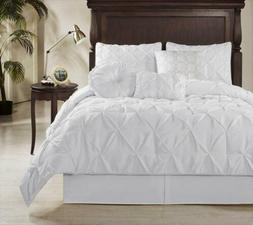 """8pc White Pintuck Pleated """"REMOVABLE COVER"""" Down Alternative"""