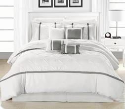 Chic Home Vermont 8-Piece Comforter Set, Queen, White/Silver