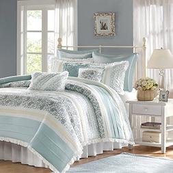 Madison Park Dawn Duvet Cover Queen Size - Aqua , Floral Sha
