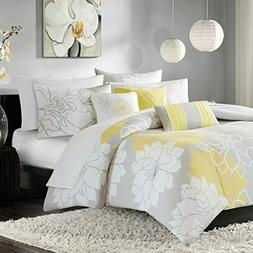 Madison Park Lola Duvet Cover Full/Queen Size - Yellow, Grey