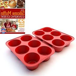 Silicone Texas Muffin Pans and Cupcake Maker, 6 Cup Large, S