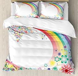 Ambesonne Abstract Home Decor Duvet Cover Set Queen Size, Ab
