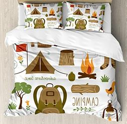 Ambesonne Adventure Duvet Cover Set Queen Size, Camping Equi