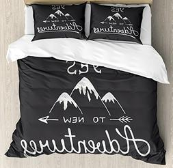 Ambesonne Adventure Queen Size Duvet Cover Set, Say Yes to N
