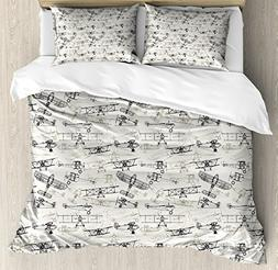 Ambesonne Airplane Queen Size Duvet Cover Set, Old Fashioned