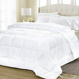 All-Season White Quilted Alternative Queen Comforter -88 x 8