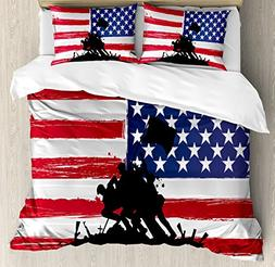 Ambesonne American Duvet Cover Set Queen Size, Bless America