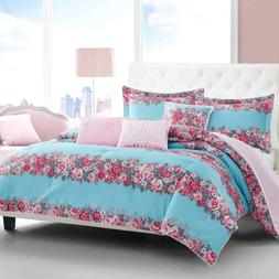 Betsey Johnson Banded Floral Full/Queen 6-piece Comforter Se