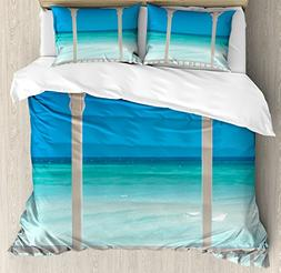 Beach Theme Decor Duvet Cover Set by Ambesonne, Coastal Deco