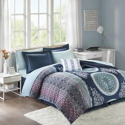 Beautiful Purple Navy Medallion Comforter and Sheets Queen F