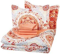 AmazonBasics 7-Piece Bed-In-A-Bag - Full/Queen, Coral Medall
