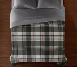 Bed Comforter Soft Microfiber Luxury Queen Size Plaid Gray