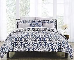 Nicole Miller Bedding Symphony Duvet Cover 3pc Set 100% Cott