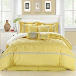 CHIC HOME BEDDING VERMONT YELLOW 8 PIECE COMFORTER SET BED I