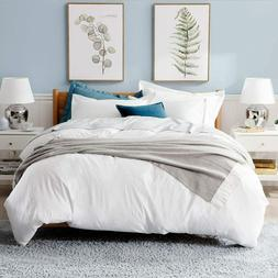 Bedsure White Washed Duvet Cover Set Queen Size Comforter 2
