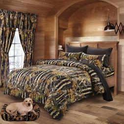 7 pc BLACK CAMO CAL KING SIZE SET COMFORTER SHEET CAMOUFLAGE
