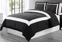 Grand Linen 3 piece BLACK/DARK GREY/WHITE Goose Down Alterna