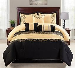7pcs Black and Gold Oversized High Quality Embroidered Royal