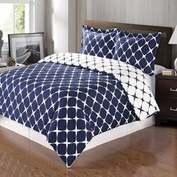 8PC Bloomingdale Navy and White Queen Size Bed in a Bag set