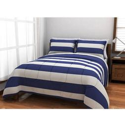 UKN 7 Piece Blue Boys Rugby Stripes Pattern Queen Comforter