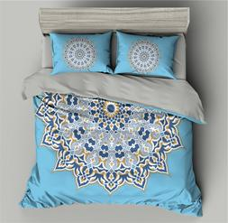 Blue Mandala Pattern 3D Bedding Set Flowers Duvet Cover <fon