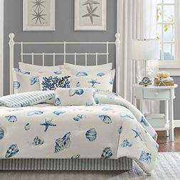 4 Piece Blue Motif Patterned Comforter Queen Set, White Sea