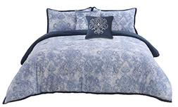 Wonder-Home Blue Paisley Comforter Set Queen, 5 Pieces Soft