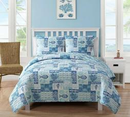 VCNY Home Blue Patchwork Sealife 3pc Pinsonic Reversible Bed