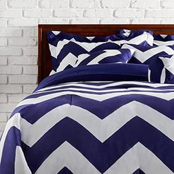 MS 7pc Blue White Chevron Pattern Comforter Queen Set, Soft