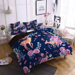 Boys Luxury Bedding Set Cartoon Deer Pink Floral Leaves Prin