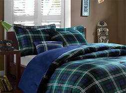OSD 4pc Boys Navy Blue Green Madras Glen Plaid Theme Comfort
