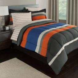 7 Piece Boys Queen Rugby Stripes Bed in a Bag Comforter Set