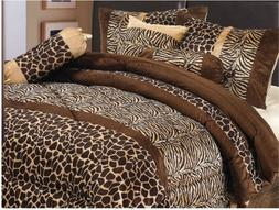 7 Piece Brown QUEEN Size Safari Bed In A Bag Animal Print Ze
