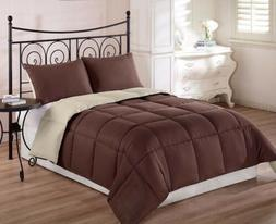 Chezmoi Collection 3pc Brown Tan Reversible Down Alternative