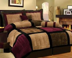 7 Piece Burgundy Brown Black Bed in a Bag Micro Suede QUEEN