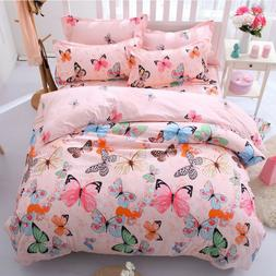 Butterfly Pink Soft Fabric Bedding Set Bed Comfort Cover+She