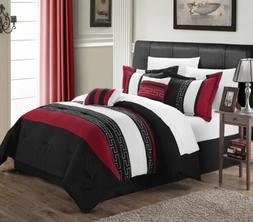 Chic Home Carlton 6-Piece Comforter Set, King Queen, Black/W