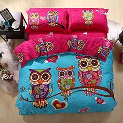 HNNSI 4 Pieces Cartoon Style Owls Bedding Sets Queen Size,10