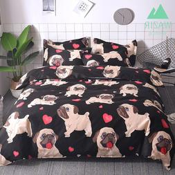 WAZIR Cartoon Pug Bedding Set Bed Linen Duvet Cover Pillowca