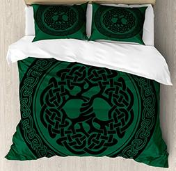 Ambesonne Celtic Duvet Cover Set Queen Size, Monochrome Tree